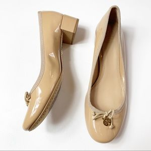 Tory Burch Shoes - Tory Burch nude patent leather Chelsea heels